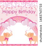 Pink Birthday Card With Cute...