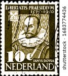 Small photo of 02.11.2020 Divnoe, Stavropol Territory Russia postage stamp Netherlands 1950 The 375th Anniversary of the University in Leiden 1575-1950 Janus Dousa first librarian of the Leiden University library