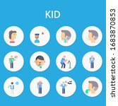 kid flat icon set on theme... | Shutterstock .eps vector #1683870853