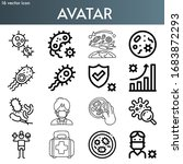 avatar line icon set on theme... | Shutterstock .eps vector #1683872293