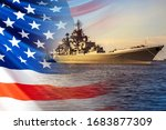 Small photo of The Navy of the United States of America. Warship on the background of the American flag. Protection of the state's Maritime borders. Participation in armed conflicts on the water.