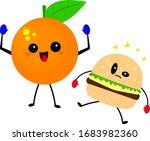 orange in boxing gloves raised... | Shutterstock .eps vector #1683982360