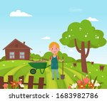 girl with a shovel stands on... | Shutterstock .eps vector #1683982786