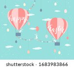 easter eggs and cute rabbits... | Shutterstock .eps vector #1683983866