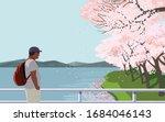 tourist at river bridge enjoy... | Shutterstock .eps vector #1684046143