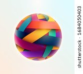 3d colored striped ball. vector ... | Shutterstock .eps vector #1684050403