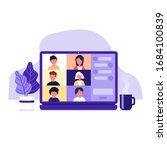 colleagues talk to each other... | Shutterstock .eps vector #1684100839