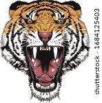 Tiger Face Art In White...