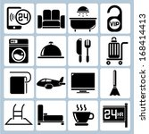 hotel icons set  room service... | Shutterstock .eps vector #168414413