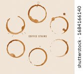 vector coffee cup stains set | Shutterstock .eps vector #1684166140