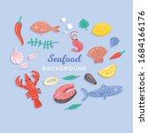 seafood set design flat fish... | Shutterstock .eps vector #1684166176