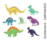 funny cartoon dinosaurs vector... | Shutterstock .eps vector #1684166323