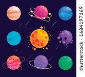 vector set of cartoon planets.... | Shutterstock .eps vector #1684197169