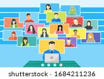 remote teaching online college... | Shutterstock .eps vector #1684211236