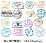 collection of passport stamps... | Shutterstock .eps vector #1684213120