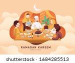 family eating ifthar or iftar... | Shutterstock .eps vector #1684285513