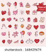 set of doodle valentine's icon... | Shutterstock .eps vector #168429674
