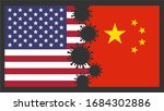 Us America Vs China Flags Worl...