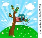 cute owl family vector   Shutterstock .eps vector #168435359