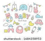 pretty baby toys  pastel color | Shutterstock .eps vector #1684358953