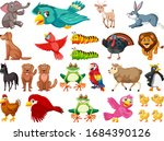 large set of wild animals on...   Shutterstock .eps vector #1684390126