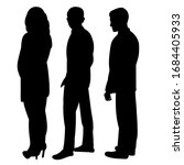black silhouette people stand ... | Shutterstock .eps vector #1684405933