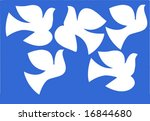 vector illustration dove isolated on  blue background - stock vector