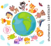 cute animals walking around... | Shutterstock .eps vector #168450659