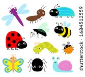 insect icon set. lady bug... | Shutterstock .eps vector #1684512559
