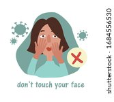 woman touches her face with... | Shutterstock .eps vector #1684556530