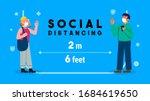 social distancing concept... | Shutterstock .eps vector #1684619650