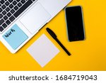 home office desk workspace with ...   Shutterstock . vector #1684719043