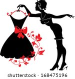 Pin Up Woman Silhouette With...