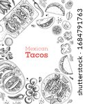 mexican tacos and ingredients... | Shutterstock .eps vector #1684791763