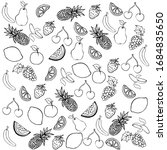 set of vector fruits in doodle ... | Shutterstock .eps vector #1684835650