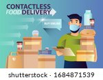 contactless food delivery... | Shutterstock .eps vector #1684871539