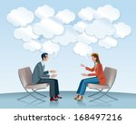a man and a woman sitting in... | Shutterstock .eps vector #168497216