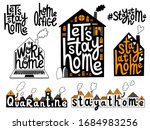 stay home  quarantine  work at... | Shutterstock .eps vector #1684983256