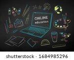 vector color chalk drawn... | Shutterstock .eps vector #1684985296