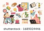 set of illustrations about... | Shutterstock .eps vector #1685024446