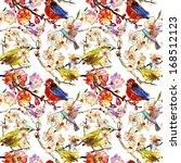 seamless flowers pattern on... | Shutterstock . vector #168512123