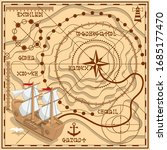 old treasure map. route scheme. ... | Shutterstock .eps vector #1685177470