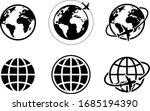 globe and airplane icon of... | Shutterstock .eps vector #1685194390