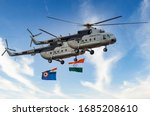 Small photo of India - October 6, 2018: Indian Air Force Mil Mi-17 Helicopter.