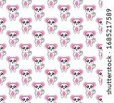 seamless pattern cute monkey...   Shutterstock .eps vector #1685217589