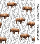 Seamless Pattern With  Bison's...