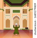 religious muslim man kneeling... | Shutterstock .eps vector #1685279809