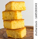 Small photo of Cornbread. Popular southern side dish. Bread prepared with cornmeal, eggs and buttermilk. Classic low country dinner staple.
