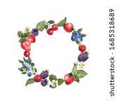 berries wreath in watercolor.... | Shutterstock . vector #1685318689