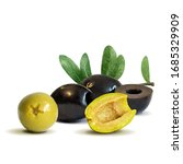 green and black olives low poly.... | Shutterstock .eps vector #1685329909